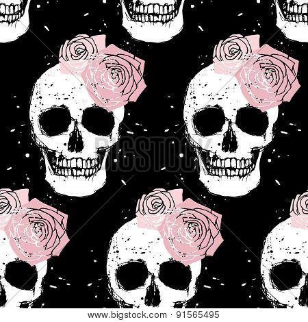 Grunge Skull And Rose Seamless Pattern