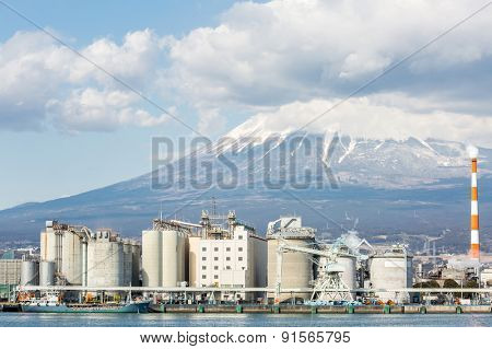 Mountain Fuji and Japan industry Factory from Shizuoka prefecture