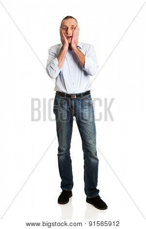 Full length of shocked handsome man.