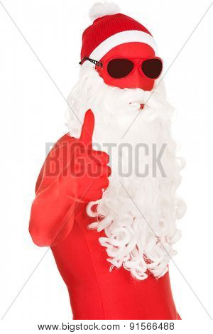 Portrait of santa in latex clothing with thumbs up.