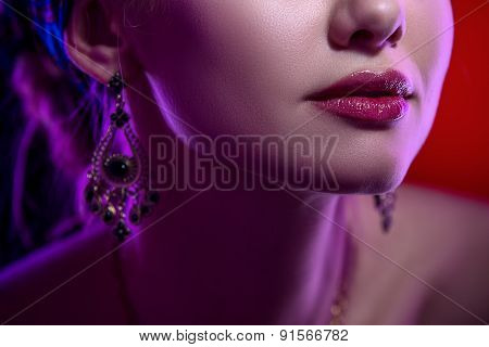 Beauty close-up portrait of female lips