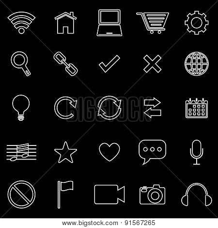 Web Line Icons On Black Background