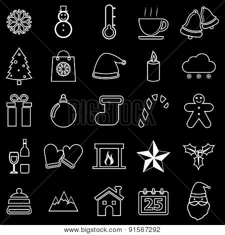 Winter Line Icons On Black Background