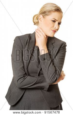 Woman with terrible throat pain.