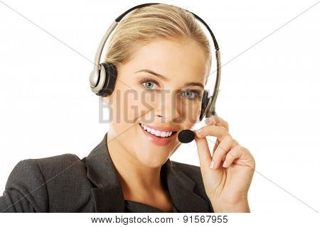 Call center woman talking to customer.