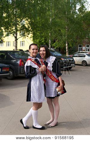 Russian Schoolgirls In Uniform After Graduation