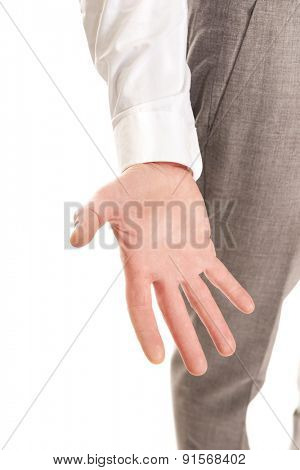 Close up on businessman empty hand.