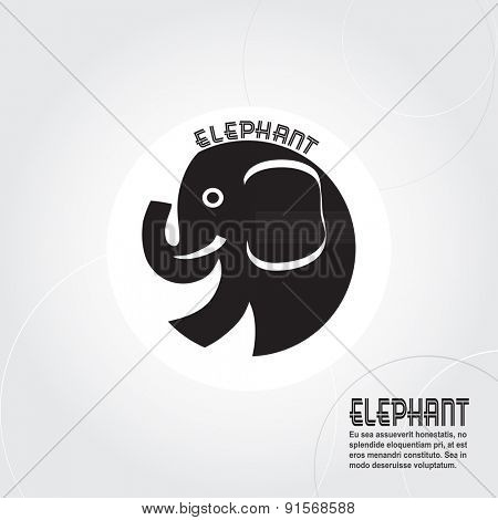 Abstract silhouette elephant with space for text, vector