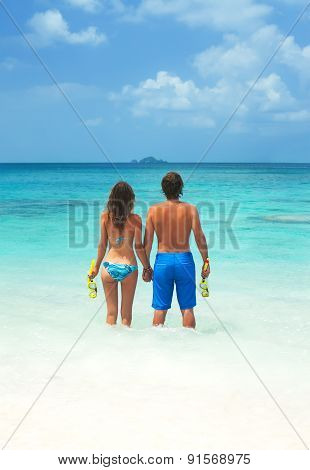 Young Couple Snorkeling Together