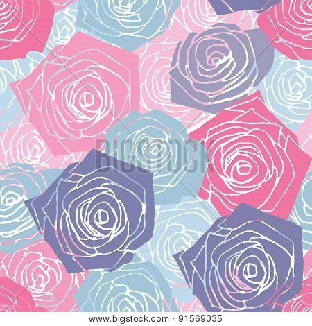 Pink And Blue Roses Pattern