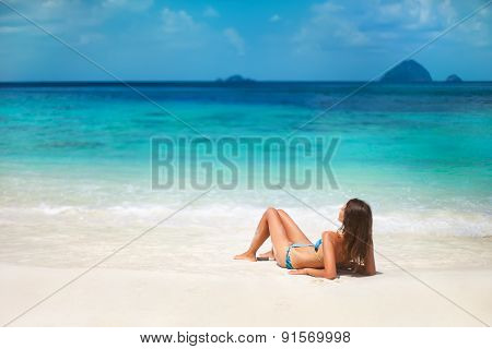 Young Woman Relax On The Tropical Beach