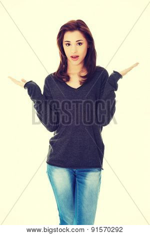 Young beautiful woman angry gesturing