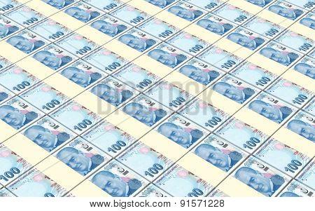 Turkish lira bills stacks background.