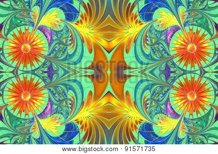 Flower Pattern In Fractal Design. Orange And Blue Palette. On Light-green. Computer Generated Graphi
