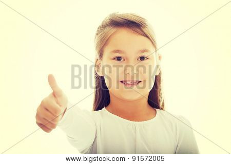 Pretty little girl thumbs up