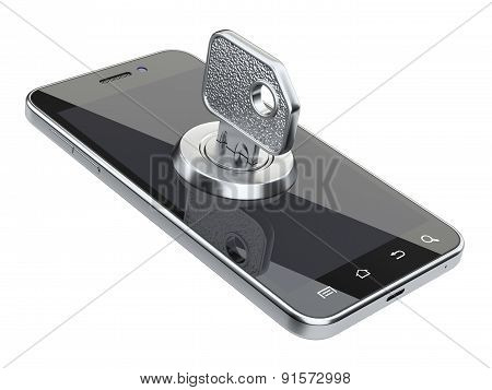 Locked Smartphone With Key. Security Concept.
