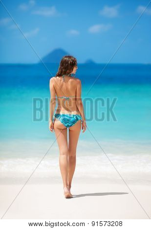 Girl In Bikini On The Tropical Beach