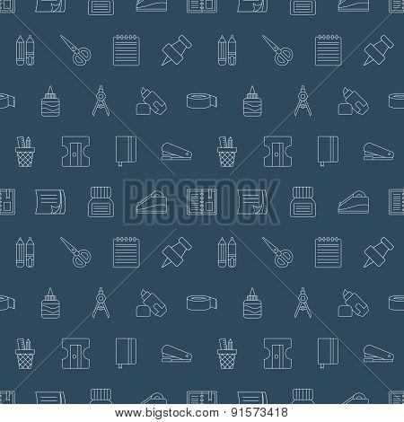 Stationery Line Icon Pattern Set