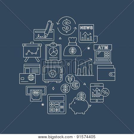 Financial Line Icon Circle Set
