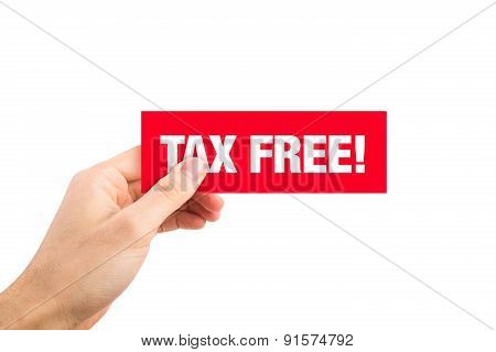 Red Tax Free Sign Label