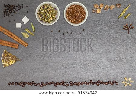 Collecion Of Several Sorts Of Tea, Spices And Coffe Beans With Free Space For Text Or Logo