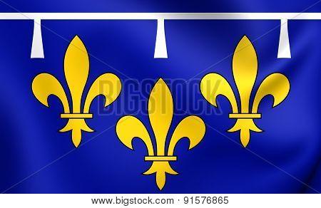 3D Flag Of Orleanais, France.