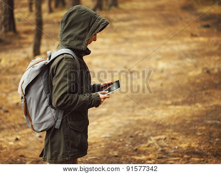 Hiker Woman With Digital Tablet Outdoor