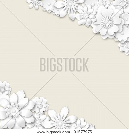 Abstract Wedding Background With White 3D Flowers
