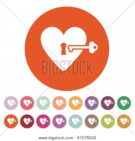 The Heart And Key Icon. Heart And Key Symbol