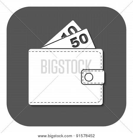 The Wallet Icon. Purse Symbol. Flat