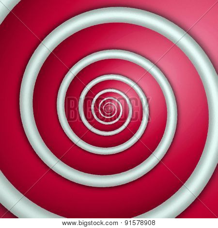 Digital Painting Of White Spiral On Red