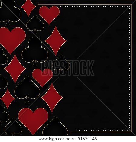 Poker dark vector background with card symbols and gold frame