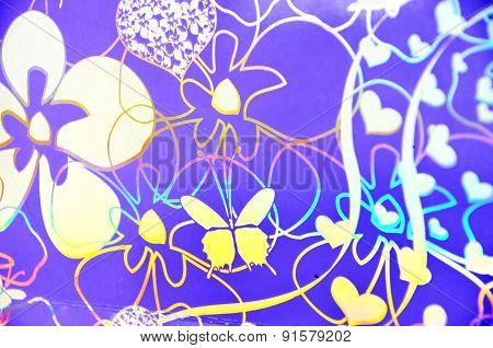 Seamless pattern with butterflies, flowers, hearts