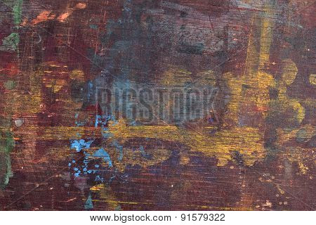 Old Wooden Board With Paint Stains