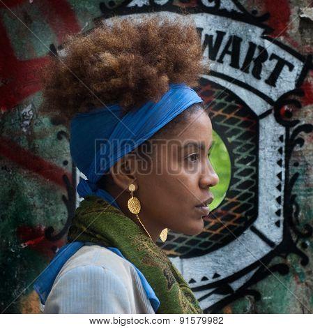 Young Afro Woman Profile In A Urban Street Art Scene