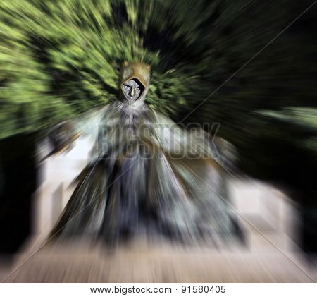Zoom Burst Of Statue Of Anonymus