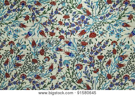 background texture of tiled ceramic mural in the style of Iznik pottery