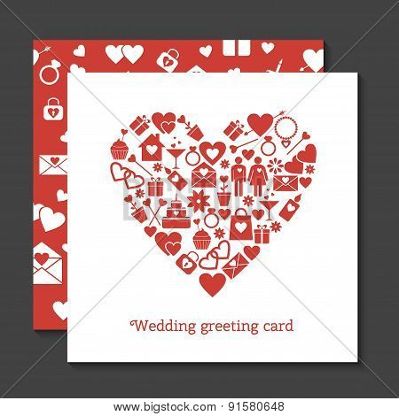 Wedding greeting card and seamless pattern