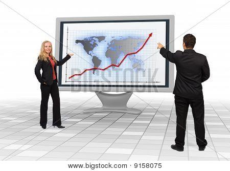 Negocios equipo mostrando crecimiento financiero