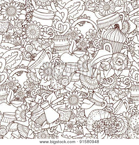 Coffee And Tea Design Template Grunge Doodle Pattern Background.