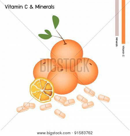 Orange Fruits With Vitamin C On White Background
