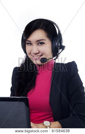 Friendly Service Center Operator Smiling