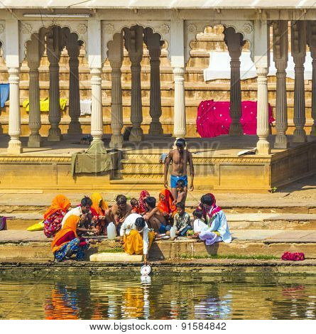 People At Rituell Washing  In The Holy Lake In Pushkar, India.