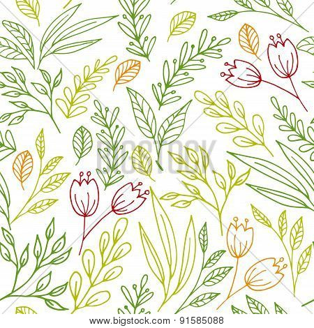 Floral seamless pattern with hand drawn flowers and plants