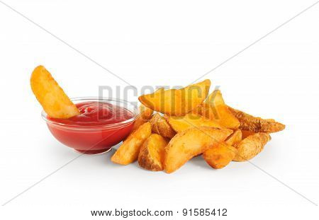 Fried Potatoes And Ketchup.