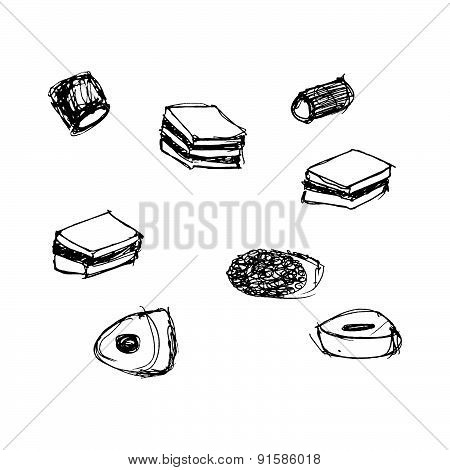 Illustration Of A Selection Of Sweet