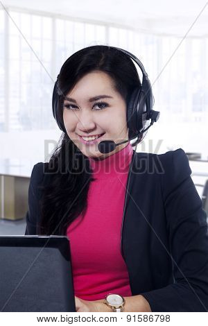 Pretty Call Center Operator Working In Office