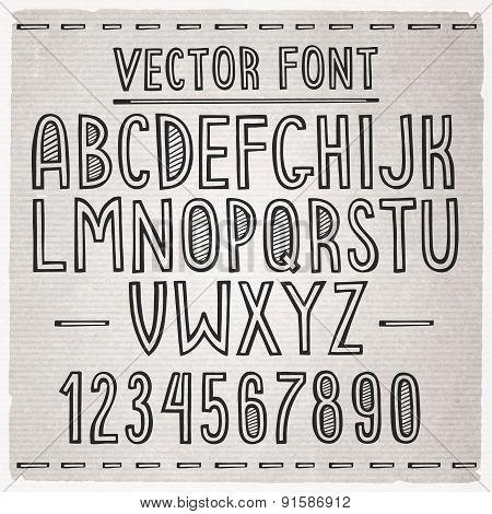 Hand drawn font. Vector alphabet.