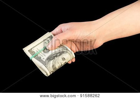 Money in human hand