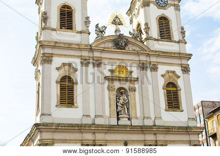 Part of Saint Anne Church or Szent Anna templom in Budapest, Hungary